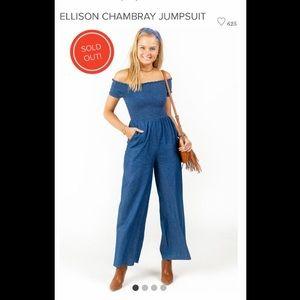 Francesca's ELLISON CHAMBRAY JUMPSUIT